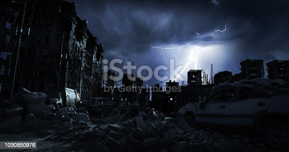 Digitally generated accurate scene of destroyed city/post nuclear city scene with ruined architecture (night).  The scene was rendered with photorealistic shaders and lighting in Autodesk® 3ds Max 2016 with V-Ray 3.6.