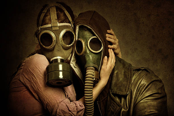 Post Apocalyptic Love Young post apocalyptic couple hugging each other. Added brown tone, grain, damage, textures and vignetting for the mood. human relationship stock pictures, royalty-free photos & images