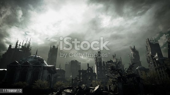 Digitally generated post apocalyptic scene depicting a desolate urban landscape with buildings in ruins and cloudy sky.  The scene was rendered with photorealistic shaders and lighting in UE4 (Unreal Engine 4.23) with some post-production added.