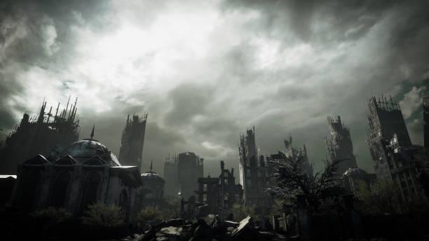 ポスト黙示録的な都市景観 - 遺跡 ストックフォトと画像