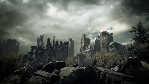 Post Apocalyptic Urban Landscape Digitally generated post apocalyptic scene depicting a desolate urban landscape with buildings in ruins and cloudy sky.  The scene was rendered with photorealistic shaders and lighting in UE4 (Unreal Engine 4.23) with some post-production added. conflict stock pictures, royalty-free photos & images