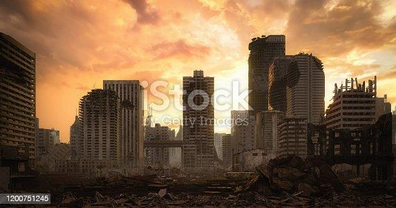 istock Post Apocalyptic Urban Landscape (Dusk) 1200751245