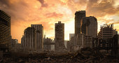 Digitally generated post apocalyptic scene depicting a desolate urban landscape with buildings in ruins at dusk/dawn.\n\nThe scene was rendered with photorealistic shaders and lighting in Autodesk® 3ds Max 2020 with V-Ray Next with some post-production added.