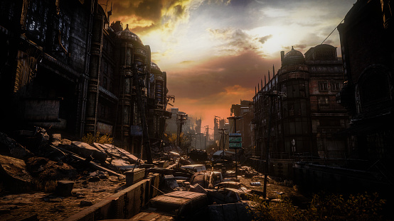 Digitally generated post apocalyptic scene depicting a desolate urban landscape with buildings in ruins and cloudy sky at dawn/dusk.  The scene was rendered with photorealistic shaders and lighting in UE4 (Unreal Engine 4.23) with some post-production added.