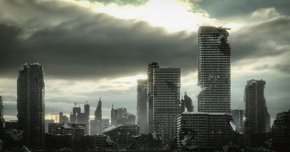 Digitally generated post apocalyptic scene depicting a desolate urban landscape with tall buildings in ruins and mostly cloudy sky.  The scene was created in Autodesk® 3ds Max 2020 with V-Ray 5 and rendered with photorealistic shaders and lighting in Chaos® Vantage with some post-production added.