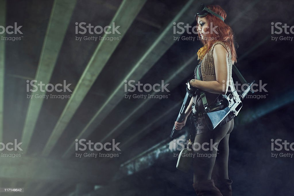 Post Apocalyptic Woman in Futuristic Tunnel royalty-free stock photo