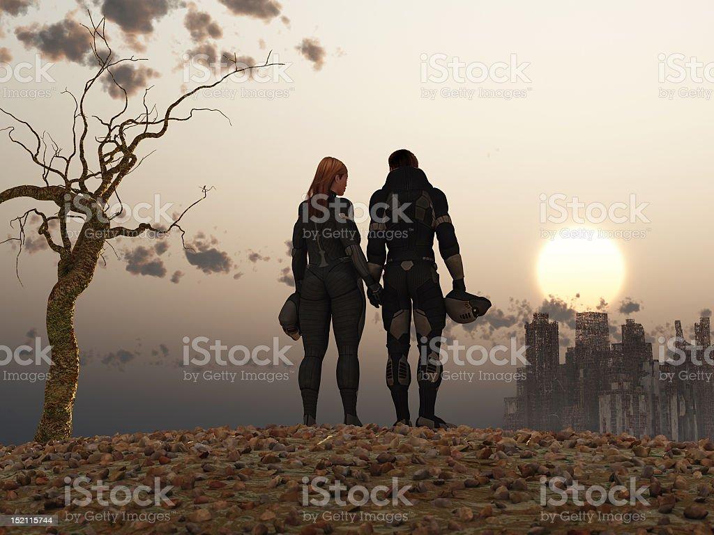 Post Apocalyptical couple stock photo