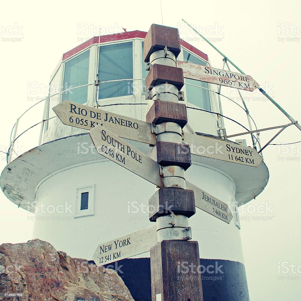 Post at Cape of Good Hope stock photo