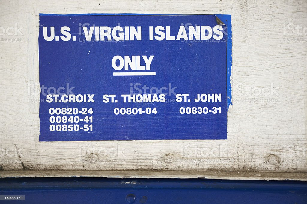 Post Box for US Virgin Islands Only, Sign, Caribbean royalty-free stock photo