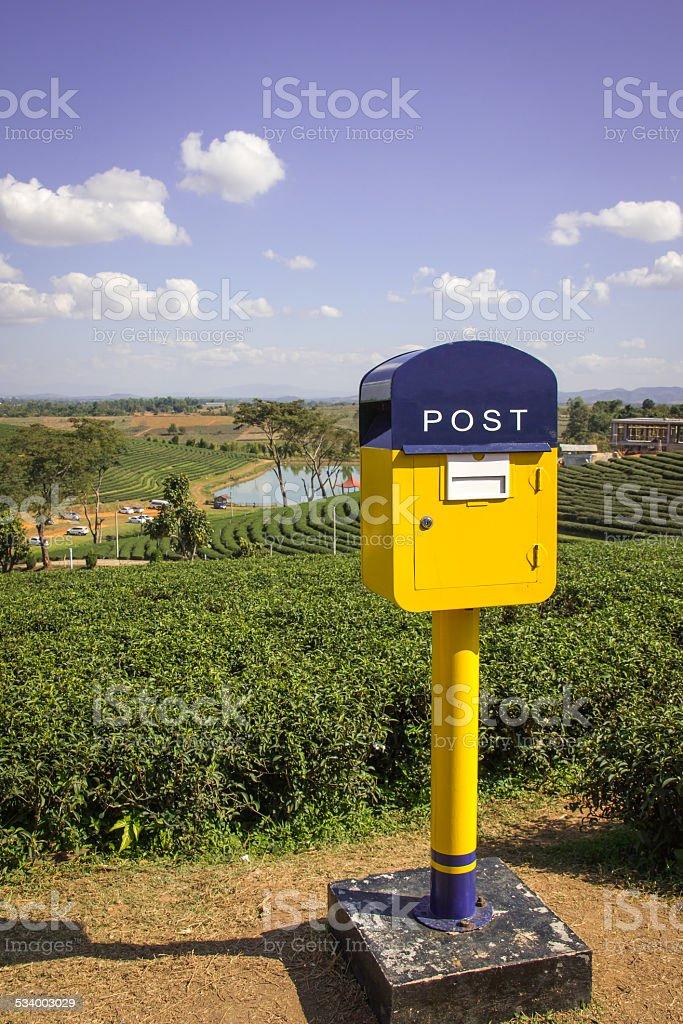 post box on hill stock photo