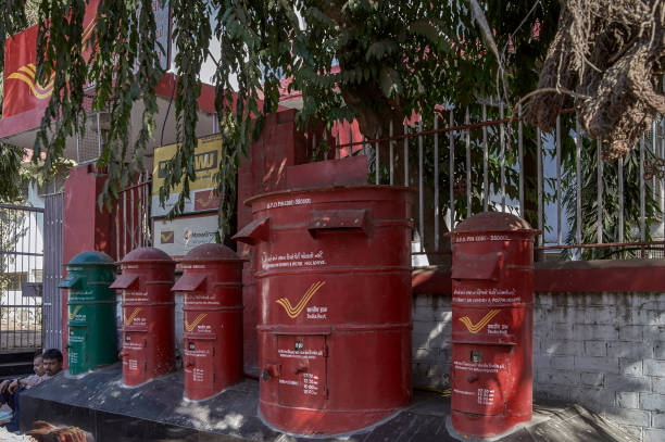 Post Box outside the General post office ahmedabad Gujarat INDIA asia