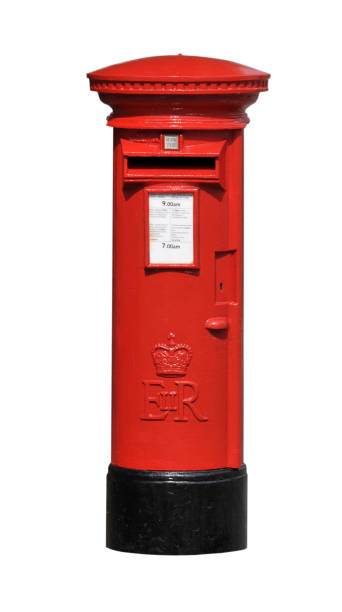 Post Box Elizabeth II red post office mail box cut out isolated on white background. mailbox stock pictures, royalty-free photos & images