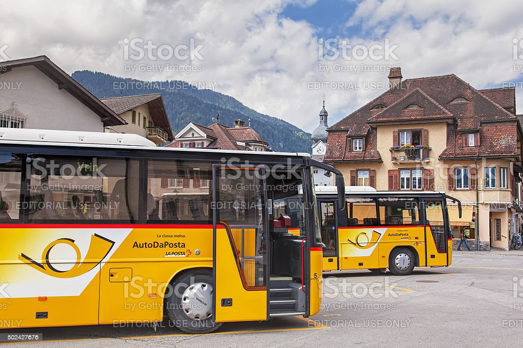 Post buses in Ilanz stock photo