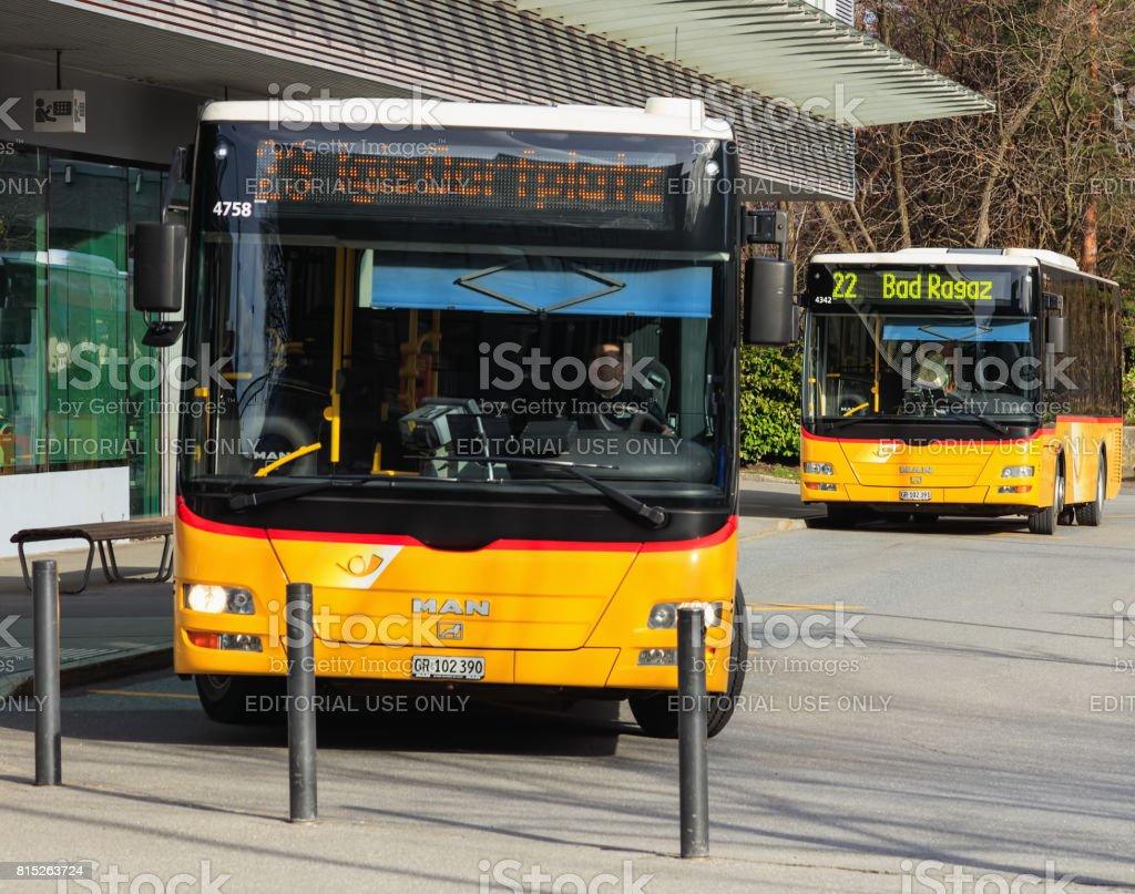 Post Buses in Landquart, Switzerland stock photo