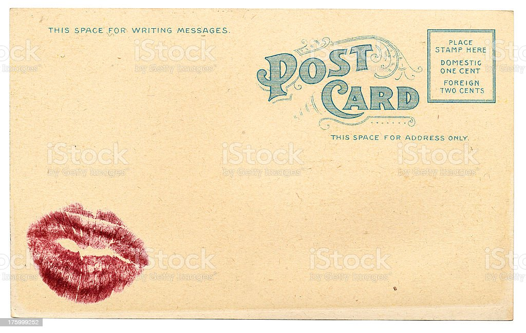 Post Card with a Smooch stock photo