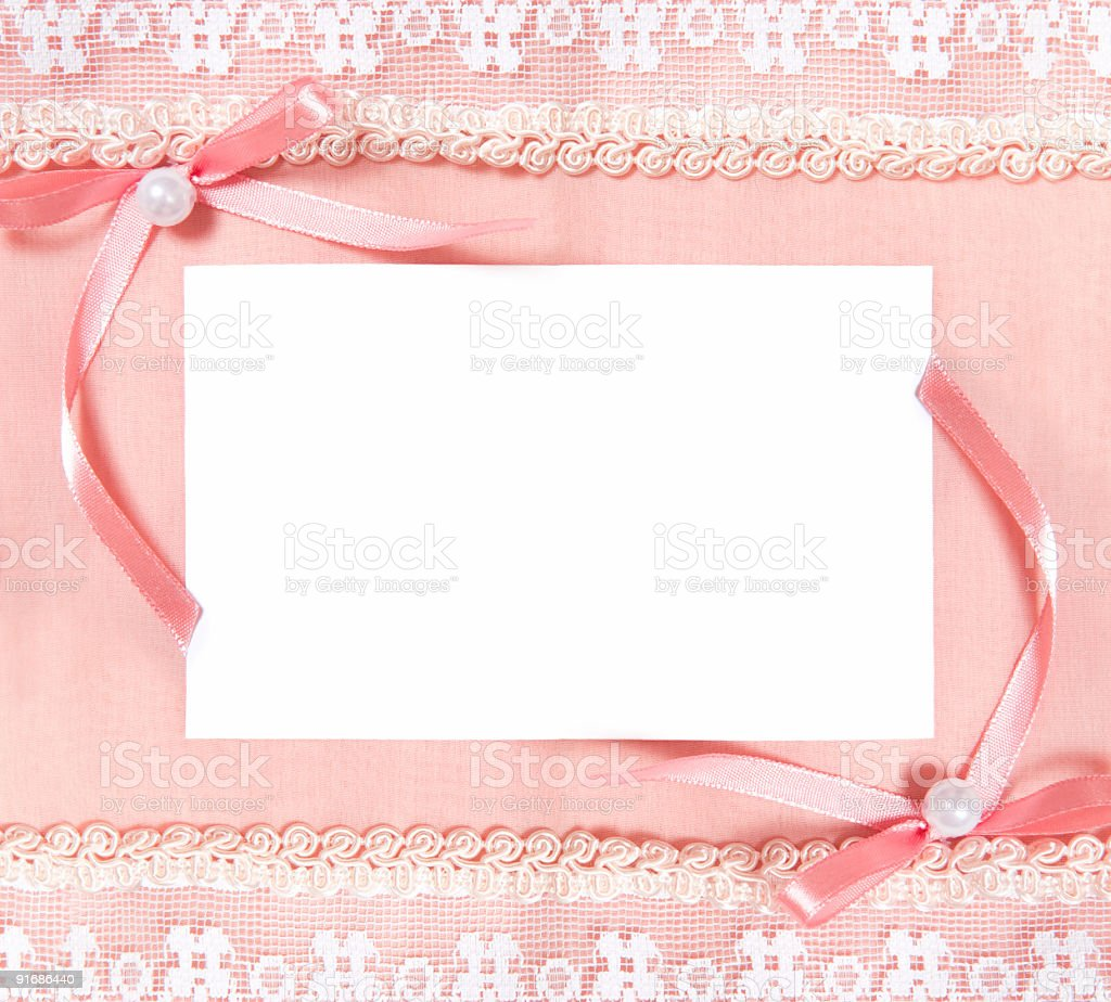 Post card with blank sheet of paper and two bows royalty-free stock photo