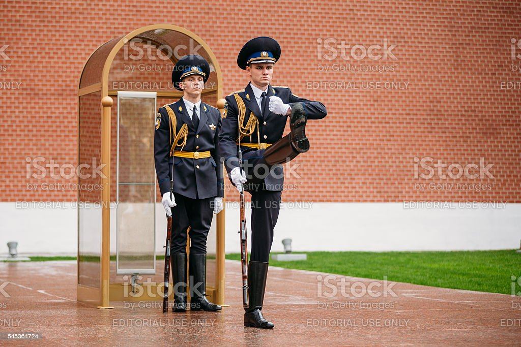 Post honor guard at the Eternal Flame in Moscow, Russia stock photo
