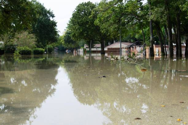 Post hurricane Harvey flooding in Houston at Memorial Drive and Whitewing Lane stock photo