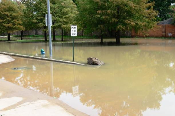 Post hurricane Harvey flooding in Houston at Memorial Drive and North Kirkwood Road stock photo