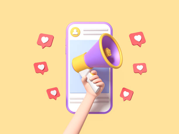 Post information alert from hand with megaphone or loudspeaker on a phone with pin like. Flat cartoon announce notification banner sign on a yellow background. 3d render Post information alert from hand with megaphone or loudspeaker on a phone with pin like. Flat cartoon announce notification banner sign on a yellow background. 3d render instagram stock pictures, royalty-free photos & images