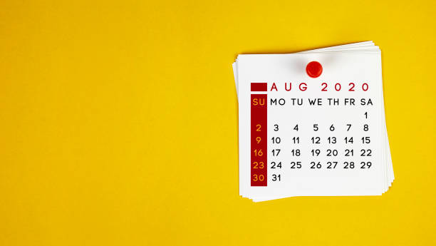 Post It August 2020 Calendar On Yellow Background stock photo