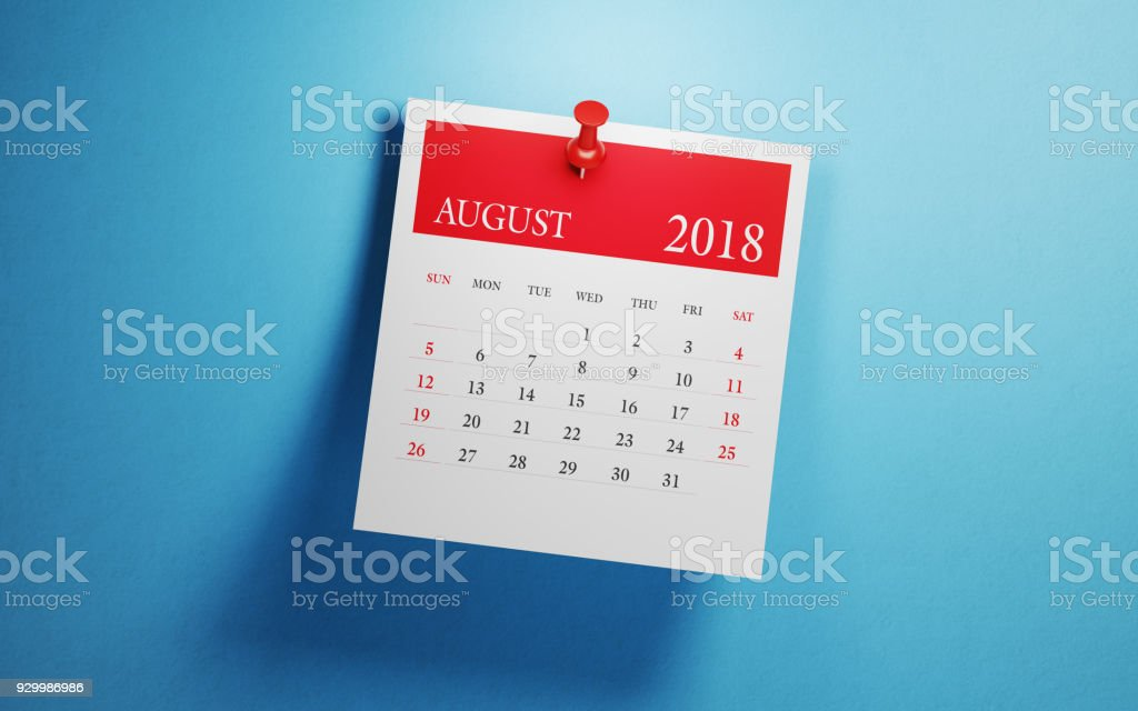 Post It August Calendar On Blue Background stock photo