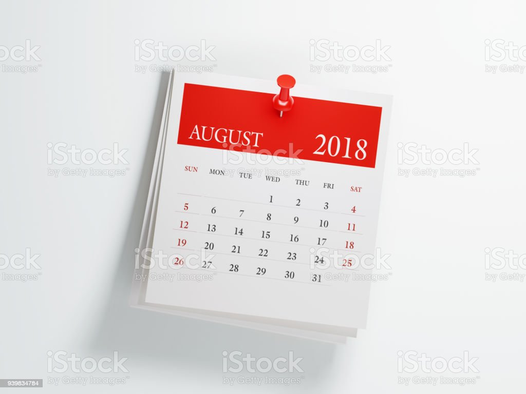 Post It August Calendar On White Background stock photo