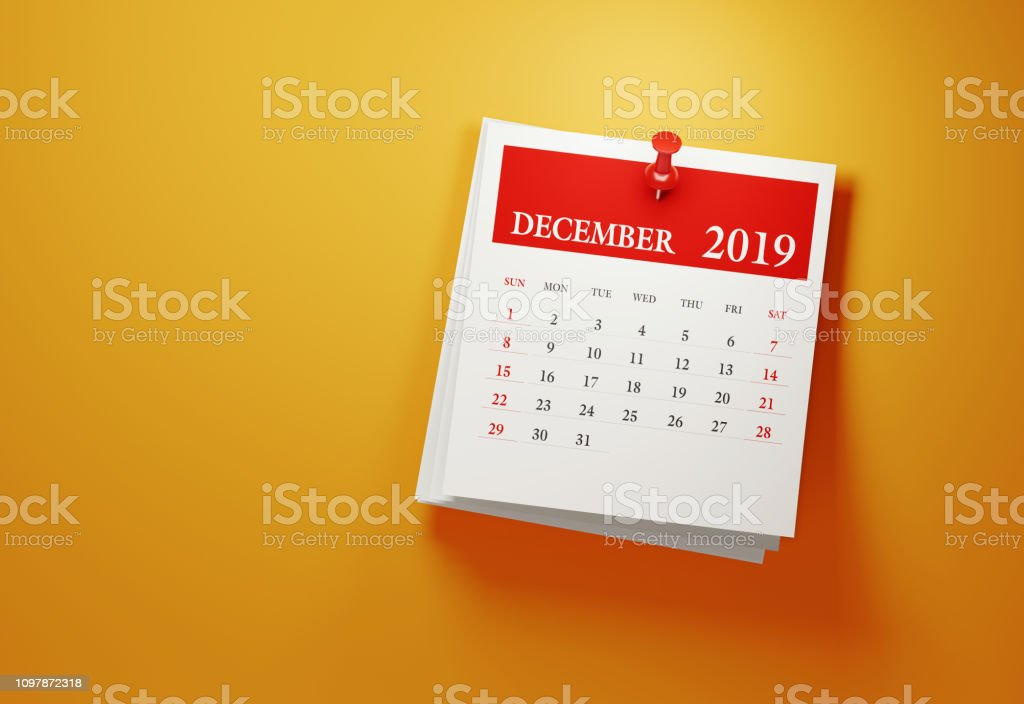 Post It December 2019 Calendar On Yellow Background Post it December 2019 calendar on yellow background. Horizontal composition with copy space. Calendar and reminder concept. 2019 Stock Photo
