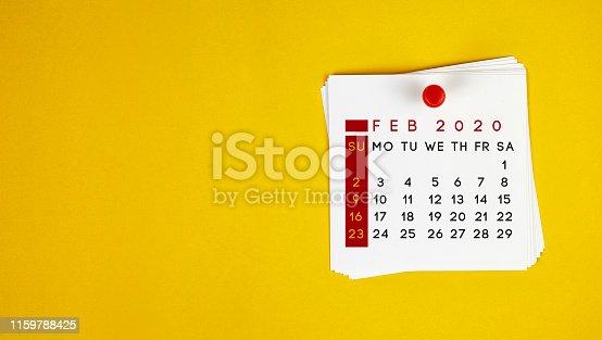 Post It February 2020 Calendar On Yellow Background