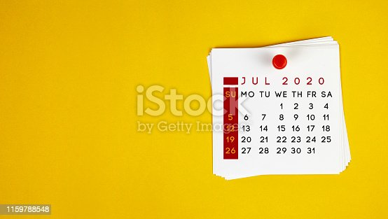 Post It July 2020 Calendar On Yellow Background