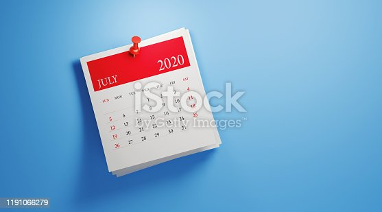 2020 post it July calendar on blue background. Horizontal composition with copy space. Calendar and reminder concept.