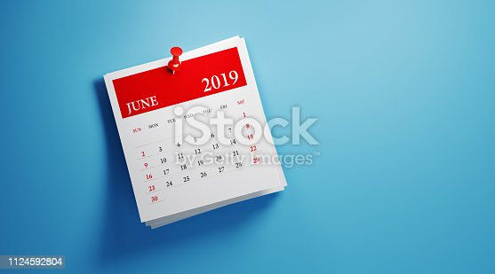 Post it June 2019 calendar on blue background. Horizontal composition with copy space. Calendar and reminder concept.
