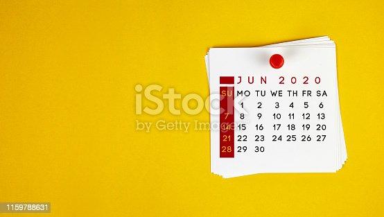 Post It June 2020 Calendar On Yellow Background