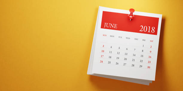post it june calendar on yellow background - june stock photos and pictures