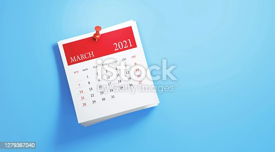 2021 post it March calendar on blue background. Horizontal composition with copy space. Calendar and reminder concept.