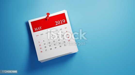 istock Post It May 2019 Calendar On Blue Background 1124592666