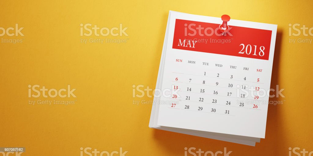 Post It May Calendar On Yellow Background stock photo