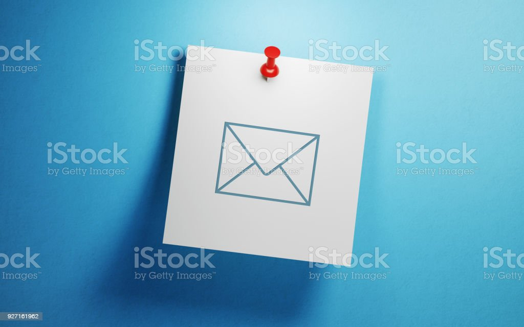Post It Note On Blue Background stock photo