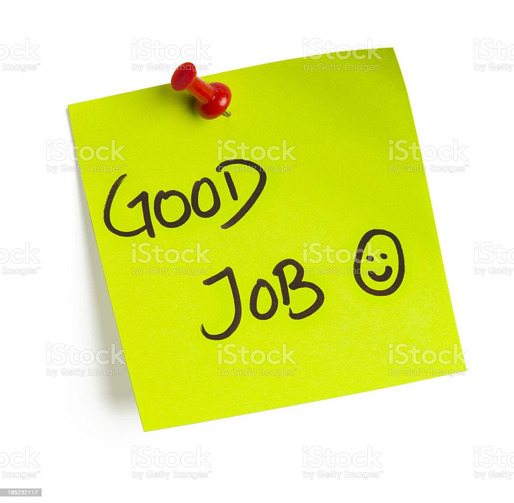 A post it note that says good job stock photo