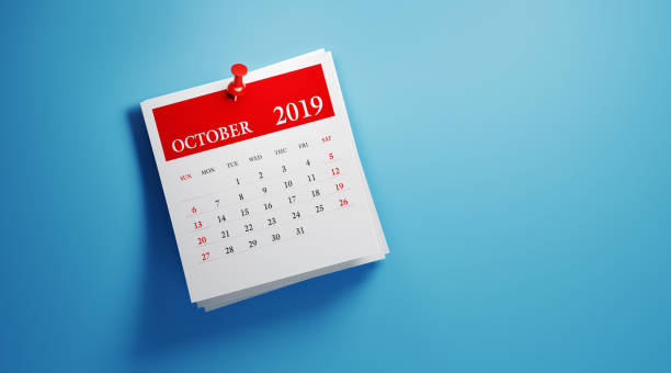 Post It October 2019 Calendar On Blue Background stock photo