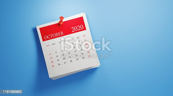 2020 post it October calendar on blue background. Horizontal composition with copy space. Calendar and reminder concept.