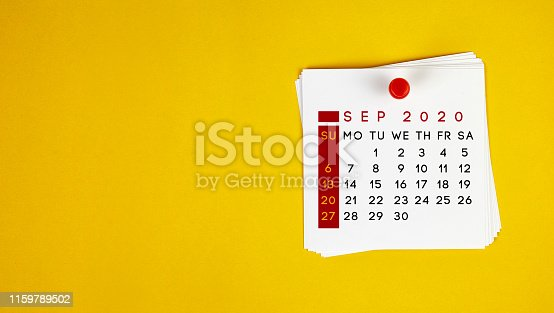 Post It September 2020 Calendar On Yellow Background