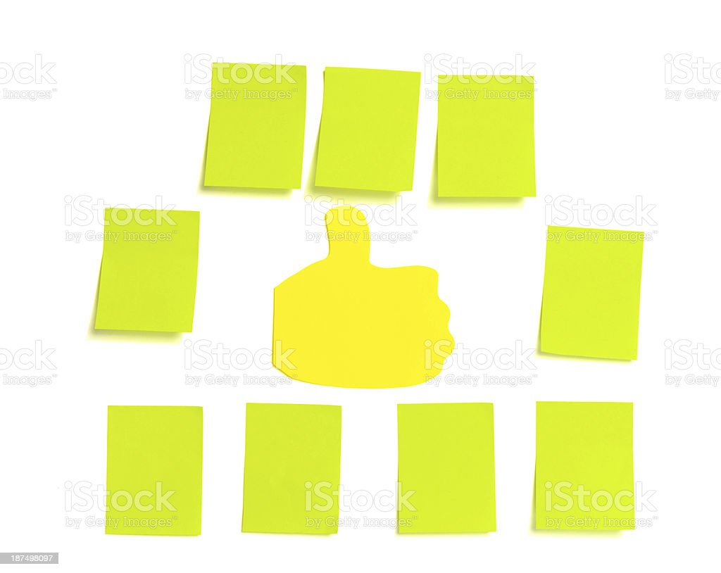 post its and thumbs up royalty-free stock photo