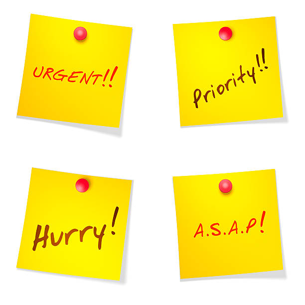 Post its Set of post-it notes: Urgent, Priority, Hurry, ASAP. Isolated on white. ASAP stock pictures, royalty-free photos & images