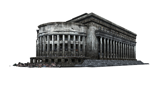 Post Office Building Ruins Isolated On White Background 3d