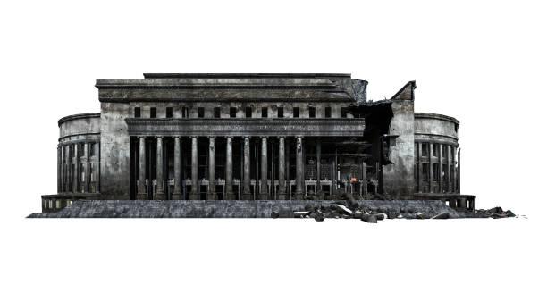 postgebäude ruinen. isoliert auf weißem hintergrund. 3d-rendering, illustration. - disaster design stock-fotos und bilder