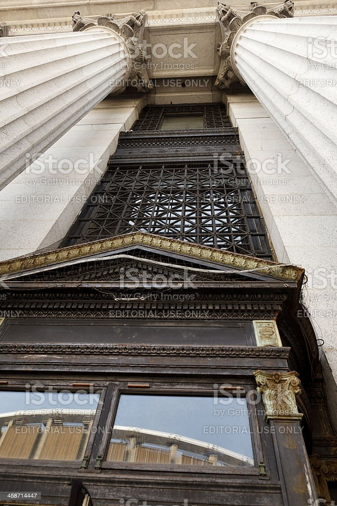 US Post Office Columns and Doorway with Reflection Midtown Manhattan stock photo