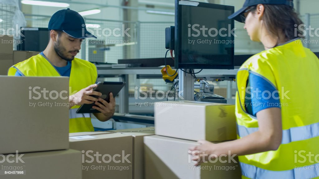 Post Sorting Center Worker Puts Cardboard Boxes on Belt Conveyor while Another Worker using Tablet PC. stock photo