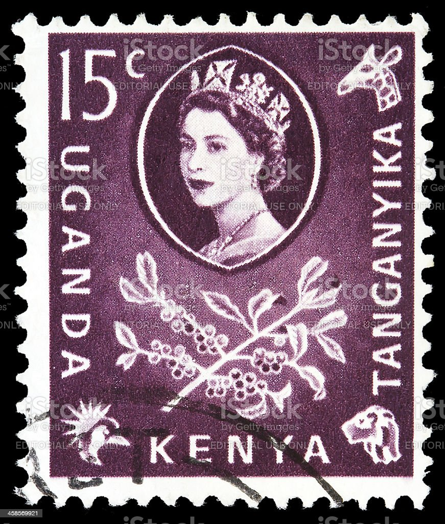 Post stamp from East Africa stock photo
