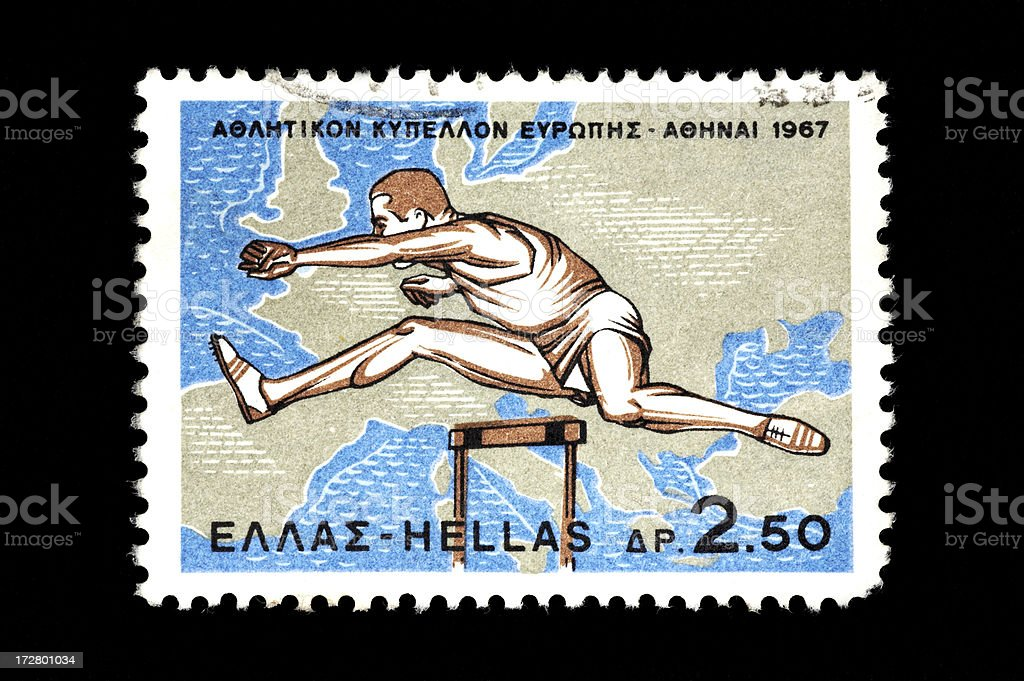 Post stamp of an athletic event royalty-free stock photo